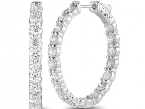 "14K ""Inside/Outside"" Diamond Hoop Earrings"