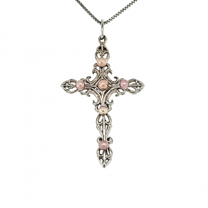 Scroll Cross Pendant With 6 Concho Pearls
