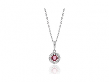 14K Ruby Necklace With Diamond Halo 1