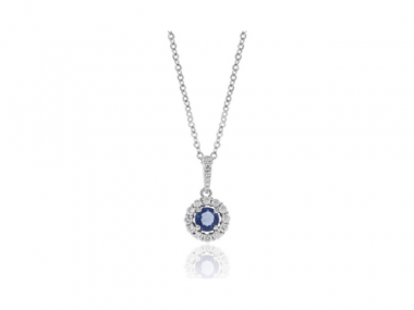 14K Sapphire and Diamond Halo Necklace 1