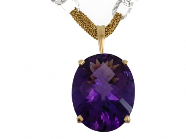 14K Oval Amethyst Solitaire Pendant 1