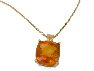 14K Cushion Citrine Pendant 1
