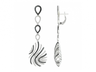 14K Black and White Diamond Earrings 1