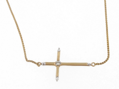 10K Sideways Cross Necklace 1