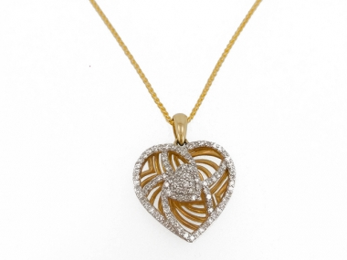 10K Cut Out Diamond Heart Pendant 1