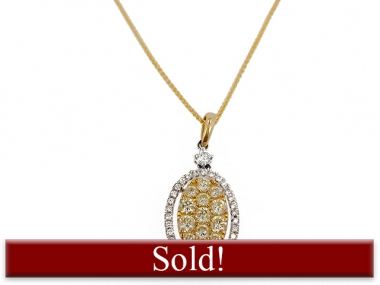 14K Yellow Diamond Oval Pendant 1
