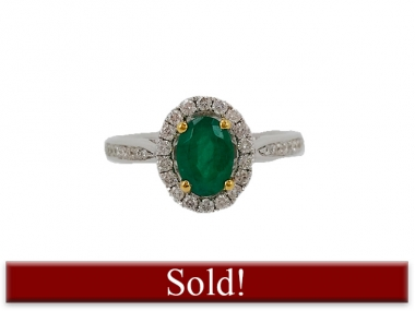 18K Oval Emerald Ring with Diamond Halo 1