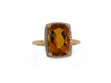 14K Emerald cut Citrine Ring 1