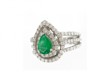 14K Pear Shaped Emerald Ring with Diamond Halo 1