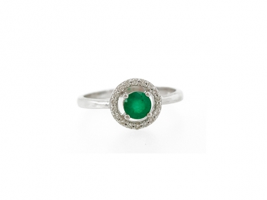 14K Classic Emerald Ring with Diamond Halo 1