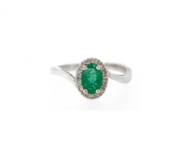 14K Emerald Swirl Ring 1