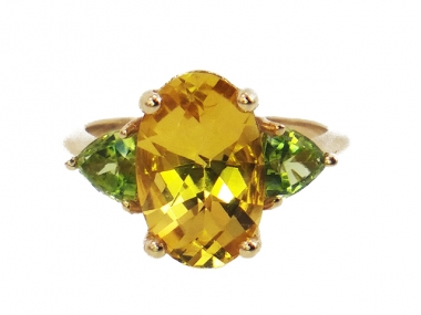 14K Beryl and Peridot Custom Ring 1