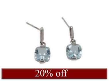 14K Cushion Cut Aquamarine Dangle Earrings 1