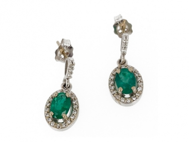 14K Oval Emerald Diamond Halo Earrings 1