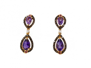 14K Vintage Amethyst Earrings 1
