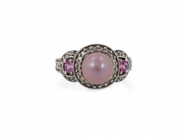 14K Concho Pearl & Pink Sapphire Ring 1