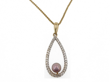 14K Concho Pearl and Diamond Teardrop Pendant 1