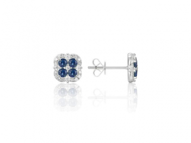 14K Sapphire and Diamond Stud Earrings 1