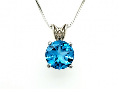 14K Lone Star Cut Blue Topaz Scroll Pendant 1
