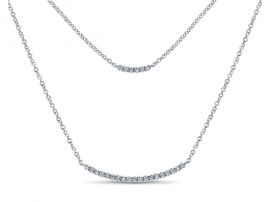 14K Double Diamond Bar Necklace 1