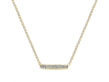 14K Straight Diamond Bar Necklace 1