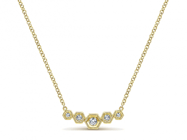 14K Hexagon Diamond Bar Necklace 1