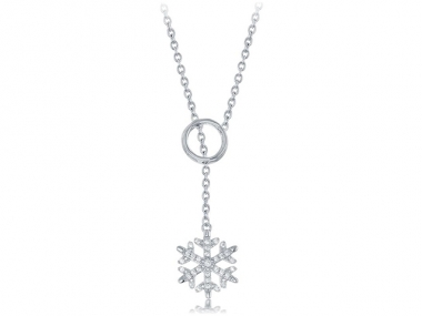 "14K ""Elsa"" Snowflake Lariat Necklace 1"