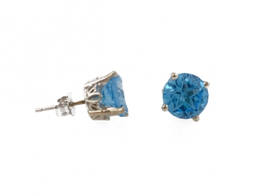 14K Lone Star Cut Blue Topaz Scroll Earrings 1