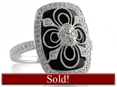 "14K ""Antique"" Diamond and Black Onyx Ring 1"