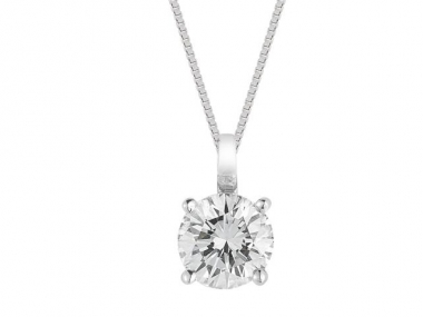14K Diamond Solitaire Pendant 1