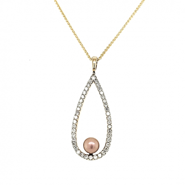 14KY Diamond Teardrop Pendant 1