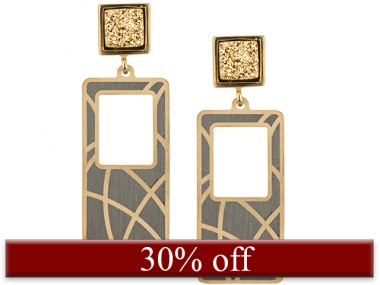 Gold & Rhodium Plated Drusy Earrings 1