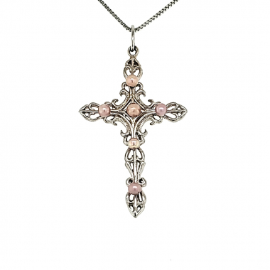 Scroll Cross Pendant With 6 Concho Pearls 1